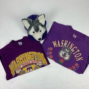 Washington Huskies Vintage Hat & Shirts Bundle